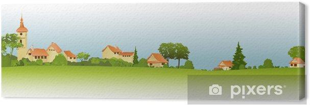 Obraz na płótnie Krajobrazu wiejskiego z małego miasta - Pory roku