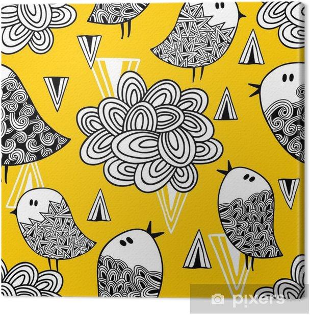 Obraz na płótnie Kreacja doodle szwu z ptaków i elementów konstrukcyjnych. - Zasoby graficzne