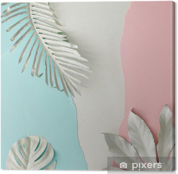 Obraz na płótnie Kreatywny układ wykonany z białych, pomalowanych tropikalnych liści i pastelowego różowego i niebieskiego papieru backround. minimalny płaski układ. - Rośliny i kwiaty