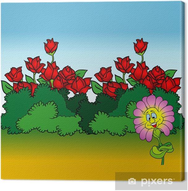 Obraz na płótnie Kreskówkową tle 08 - Kwiaty