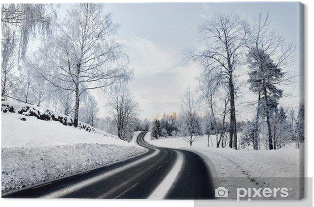 Obraz na płótnie Kręta droga w zimie - Pory roku