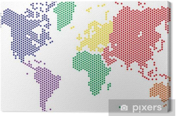 Obraz na płótnie Kropki mapa świata na białym tle, ilustracji wektorowych. - Podróże