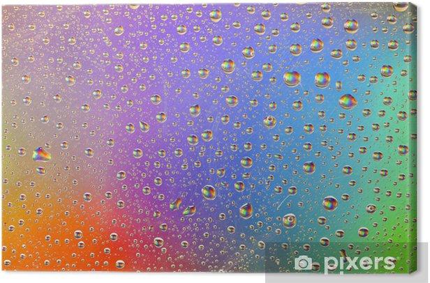 Obraz na płótnie Krople deszczu tęcza tło wody - Tekstury