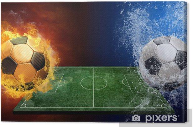Obraz na płótnie Krople wody i płomienie ognia wokół piłka na tle - Mecze i zawody