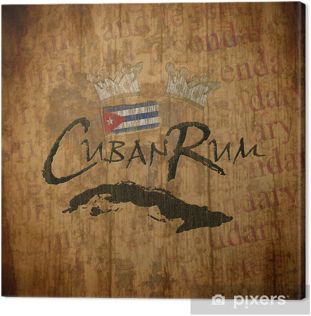 Obraz na płótnie Kubański Rum Vintage Label - Znaki i symbole