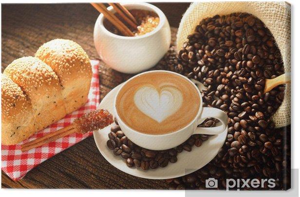 Obraz na płótnie Kubek cafe latte z ziaren kawy i chleb - Tematy