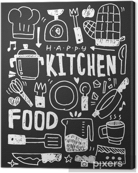 Obraz na płótnie Kuchnia elementy ręcznie rysowane Doodles linia ikona, eps10 - Zasoby graficzne