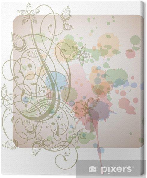 Obraz na płótnie Kwiatów, kaligrafia - stylizowane orchidea i biały kolor farby - Kwiaty