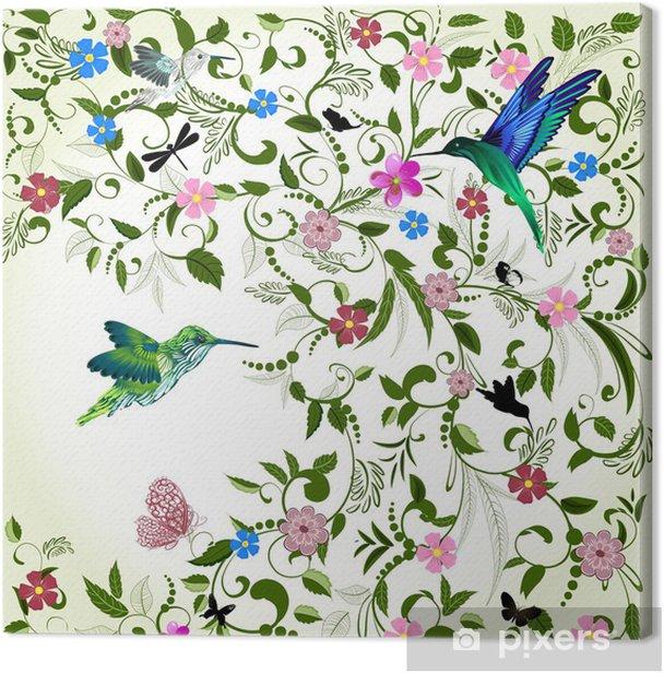 Obraz na płótnie Kwiatów tle z ptakiem - Tematy
