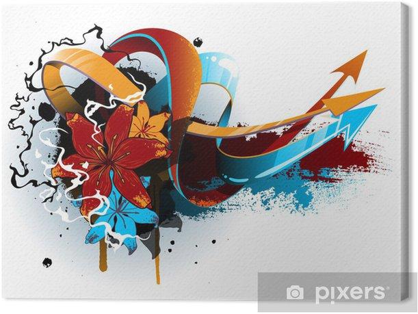 Obraz na płótnie Kwiatowy grafitti - Abstrakcja