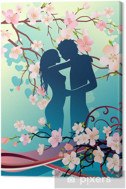 Obraz na płótnie Kwiatowy kartkę z życzeniami z sylwetką para - Świętowanie