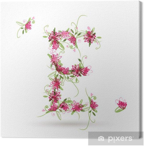 Obraz na płótnie Kwiatowy litera E do projektowania - Znaki i symbole