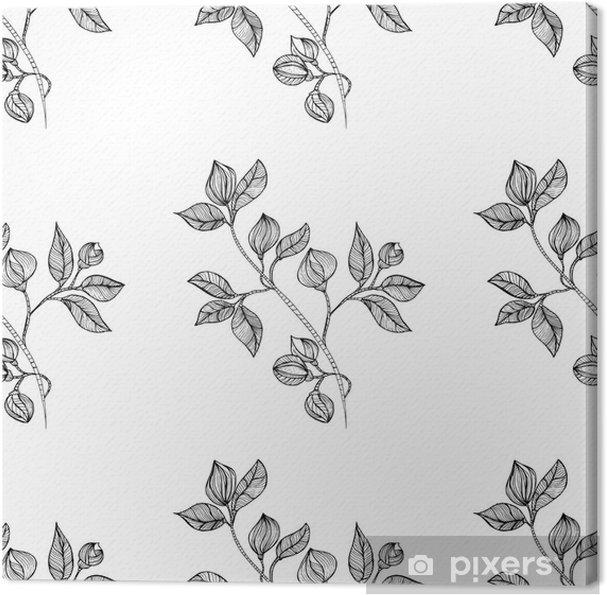 Obraz na płótnie Kwiatowy orientalne czarnym wyizolowanych bez szwu tła - Sztuka i twórczość