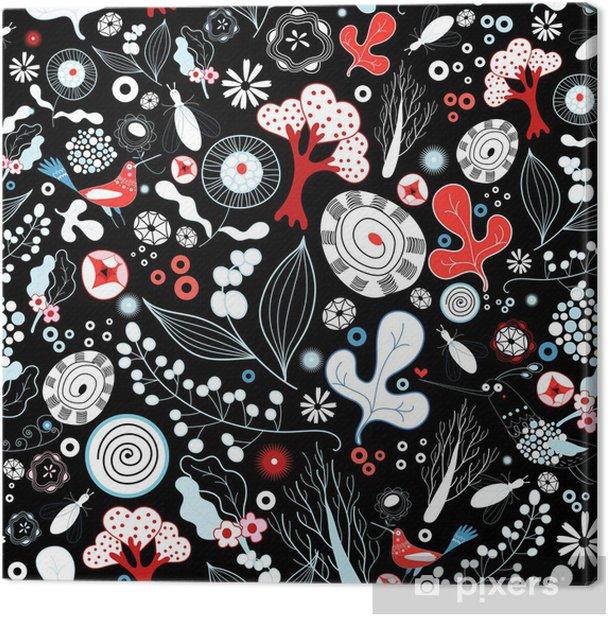 Obraz na płótnie Kwiatowy tekstury z ptakami - Tekstury
