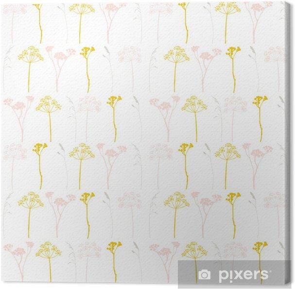 Obraz na płótnie Kwiatowy wektor wzór z dzikich koperek lub kopru kwiaty, trawy i gałązki. - Rośliny i kwiaty