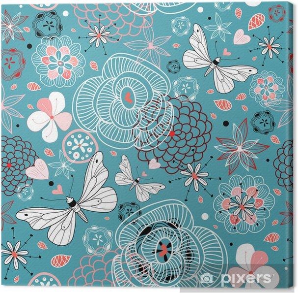 Obraz na płótnie Kwiatowy wzór z motyli - Style