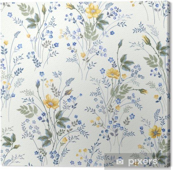 Obraz na płótnie Kwiatowy wzór z róż na białym tle - Rośliny i kwiaty