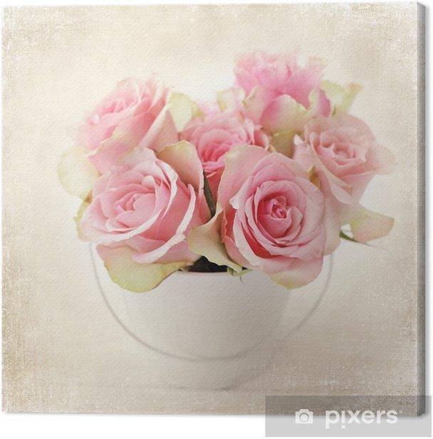 Obraz na płótnie Kwiaty. różowe róże w wazonie - Rośliny i kwiaty
