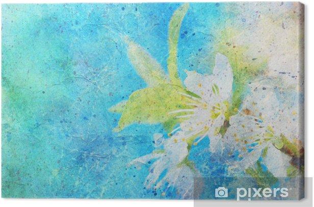 Obraz na płótnie Kwitnąca gałązka wiosna z kwiatami i akwarela bałagan odpryskami - Style