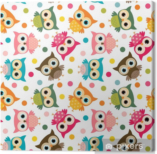 Obraz na płótnie Ładny kolorowy ptak wzór z sowy i kropki dla dzieci projekty papeterii i odzież - Zwierzęta