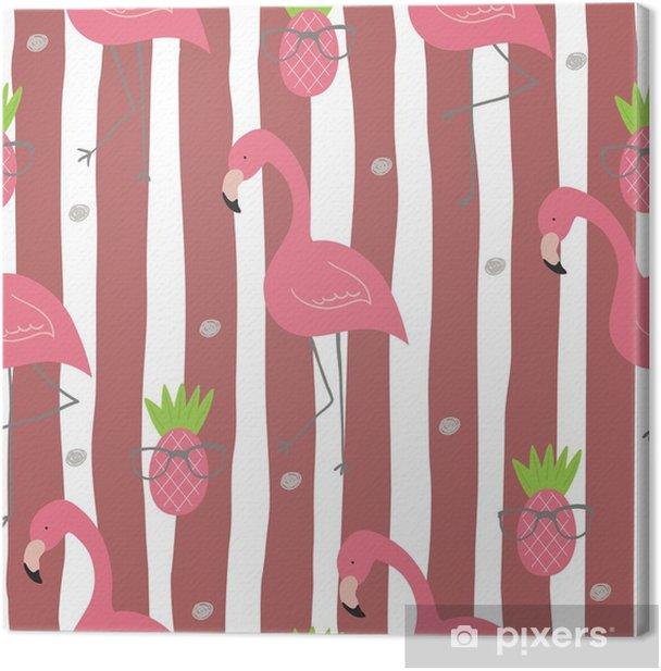 Obraz na płótnie Ładny ręcznie rysowane wzór z różowym flamingo. grafika wektorowa - Zwierzęta