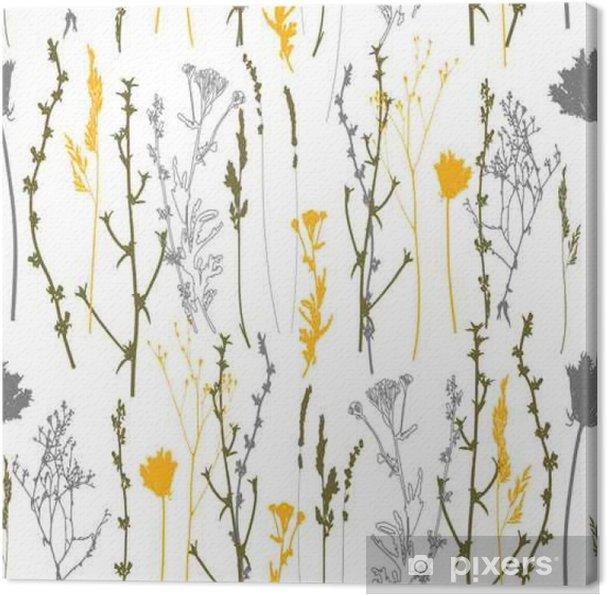 Obraz na płótnie Łąkowe trawy, zioła i kwiaty kontury wektor wzór. - Rośliny i kwiaty