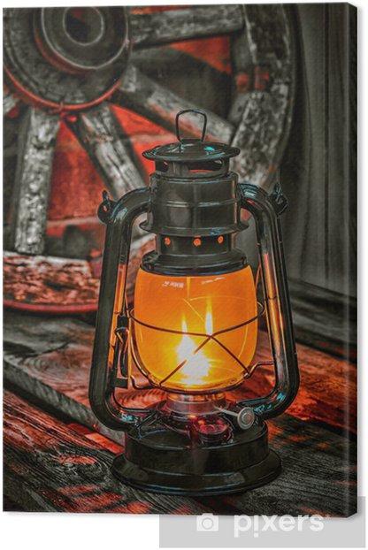 Obraz na płótnie Lampa naftowa na tle koła wagonu - Rolnictwo