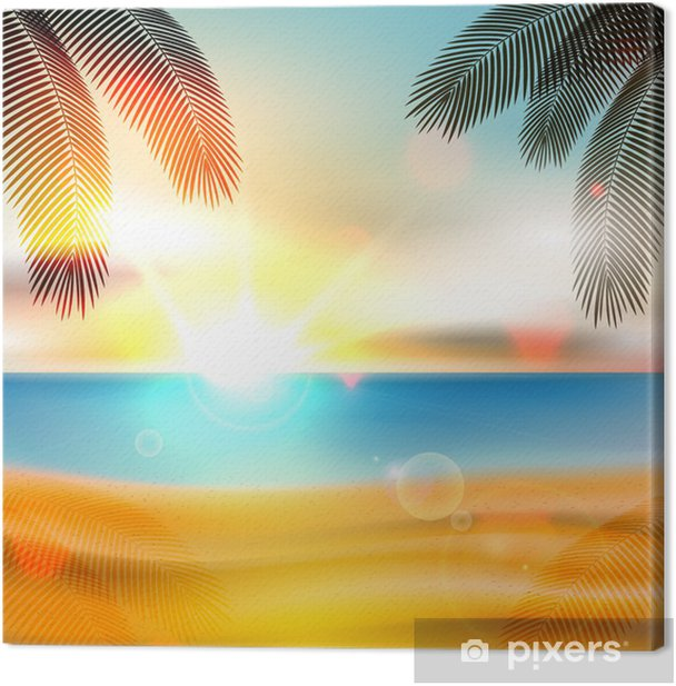 Obraz na płótnie Lato na plaży w tle - wektor - Wakacje