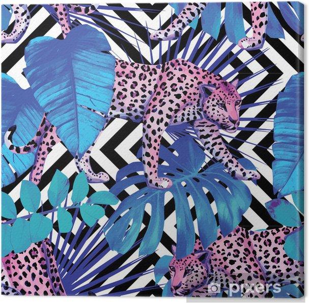 Obraz na płótnie Leopard i rośliny tropikalne, geometryczne tle - Ssaki