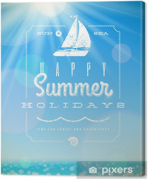 Obraz na płótnie Letnie wakacje emblemat napis z jachtu - Znaki i symbole