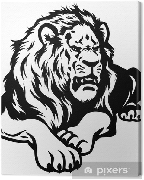 Obraz na płótnie Lew czarny biały - Ssaki