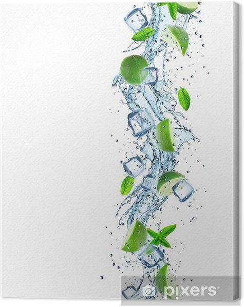 Obraz na płótnie Limonki z plusk wody - Posiłki