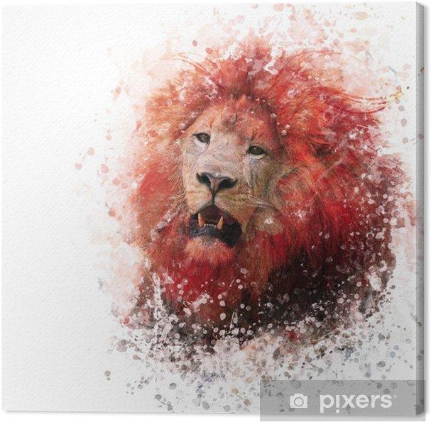 Obraz na płótnie Lion Head akwarela - Zwierzęta