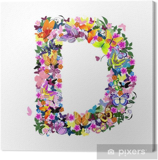 Obraz na płótnie List wzór motyle i kwiaty - Sztuka i twórczość