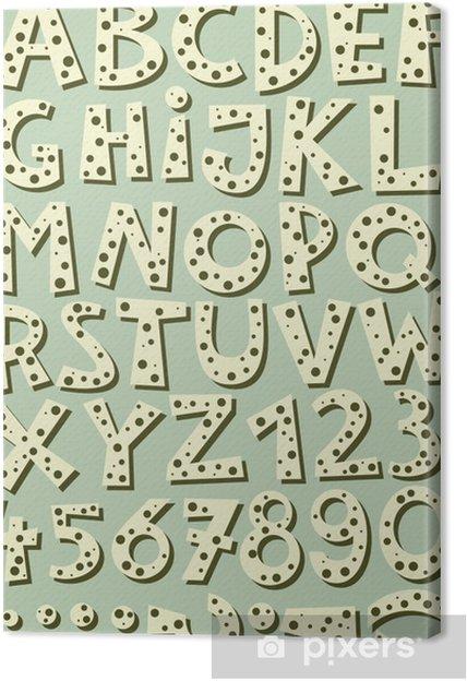 Obraz na płótnie Litery i cyfry w kropki retro zestaw na błękitnym tle - Sprzedaż