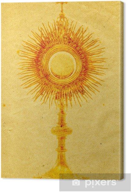 Obraz na płótnie Liturgiczna monstrancja złota statek na tle grunge papieru - Przestrzeń kosmiczna