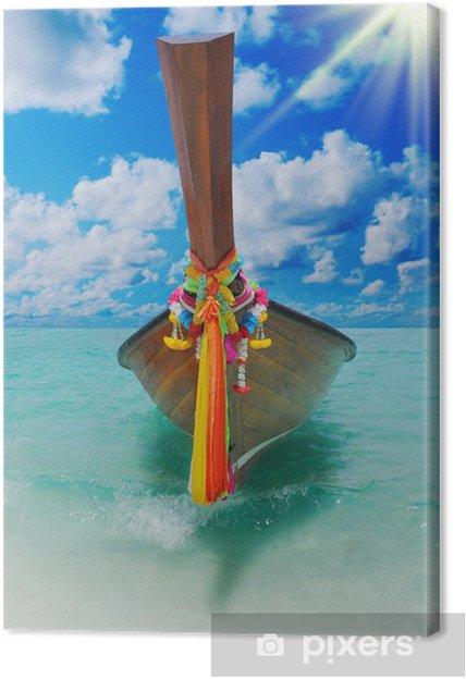 Obraz na płótnie Longtail łodzi na tropikalnej plaży morza - Wakacje
