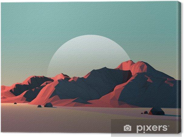 Obraz na płótnie Low-Poly Pejzaż górski na zmierzchu z księżyca - Cuda natury