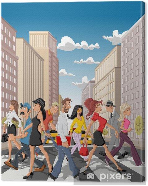Obraz na płótnie Ludzi biznesu Cartoon przekraczania ulicy śródmieścia w mieście - Grupy i tłumy