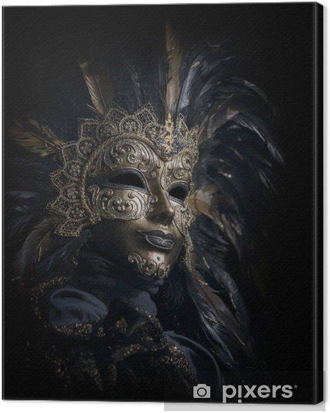 Obraz na płótnie Luksusowe weneckie maski odizolowane na czarno - Rozrywka