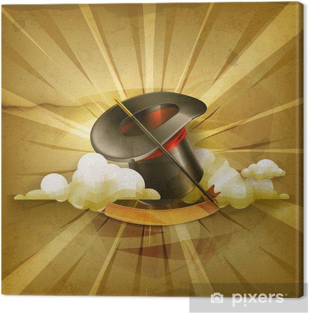 Obraz na płótnie Magiczny cylinder kapelusz, stary styl tła - Tekstury