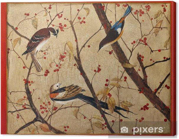 Obraz na płótnie Malarstwo. Kolorowe ptaki na gałęzi z czerwonymi jagodami - Sztuka i twórczość