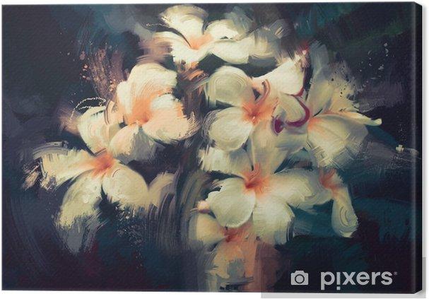 Obraz na płótnie Malarstwo przedstawiające piękne białe kwiaty w ciemnym tle - Rośliny i kwiaty