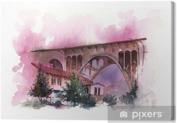 Obraz na płótnie Malowanie farbą wodną mostu - Hobby i rozrywka