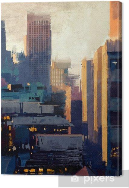 Obraz na płótnie Malowanie wieżowców na zachód słońca - Hobby i rozrywka