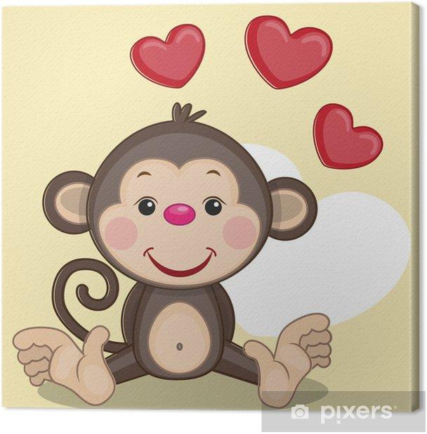 Obraz na płótnie Małpa i serca - Dla malucha