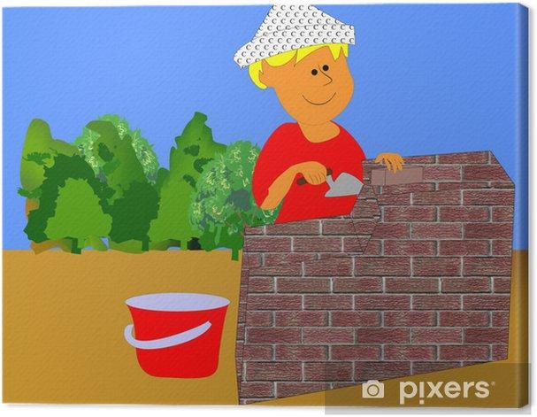 Obraz na płótnie Mały murarz - Przemysł ciężki