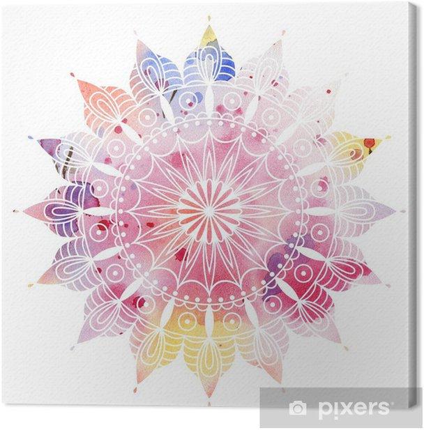 Obraz na płótnie Mandala kolorowe akwarele. Piękny okrągły wzór. Szczegółowe abstrakcyjny wzór. Dekoracyjne izolowane. - iStaging