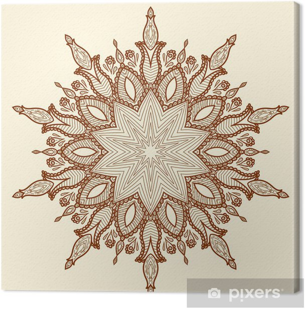 Obraz na płótnie Mandala. piękne ręcznie rysowane kwiatu. - Style