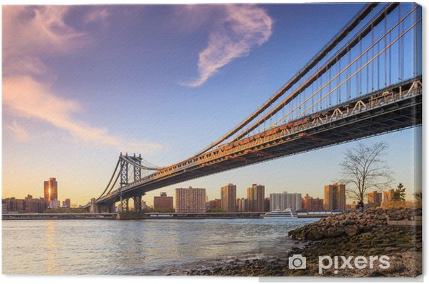 Obraz na płótnie Manhattan Bridge o zachodzie słońca - Miasta amerykańskie